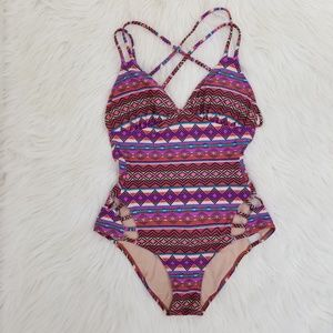 Xhilaration aztec print strappy one piece bikini S